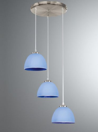 Franklite CO9573/943 Satin Nickel & Blue Pendant Light